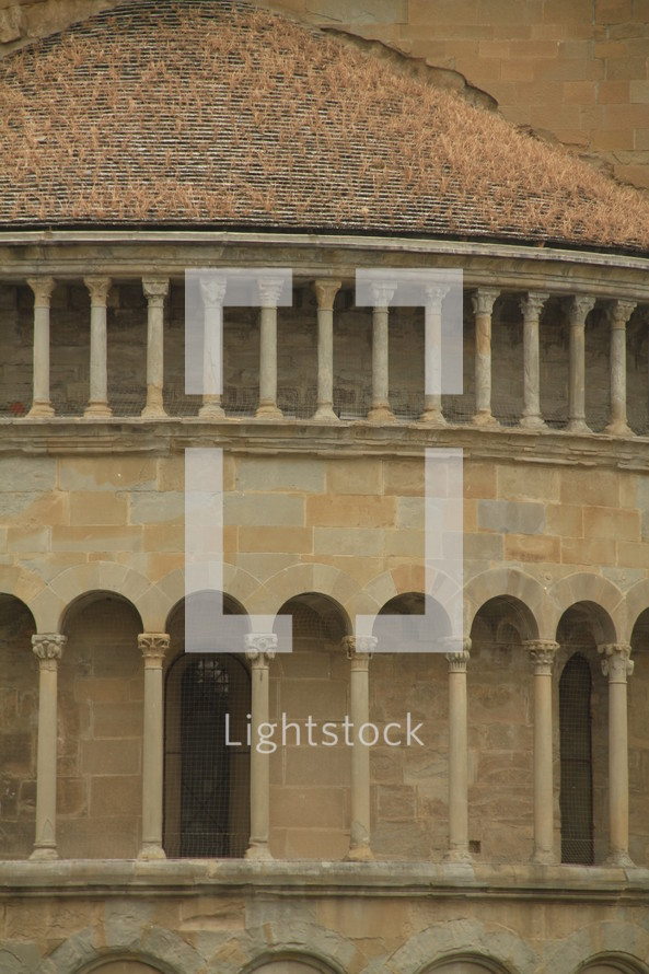 decorative columns on a building