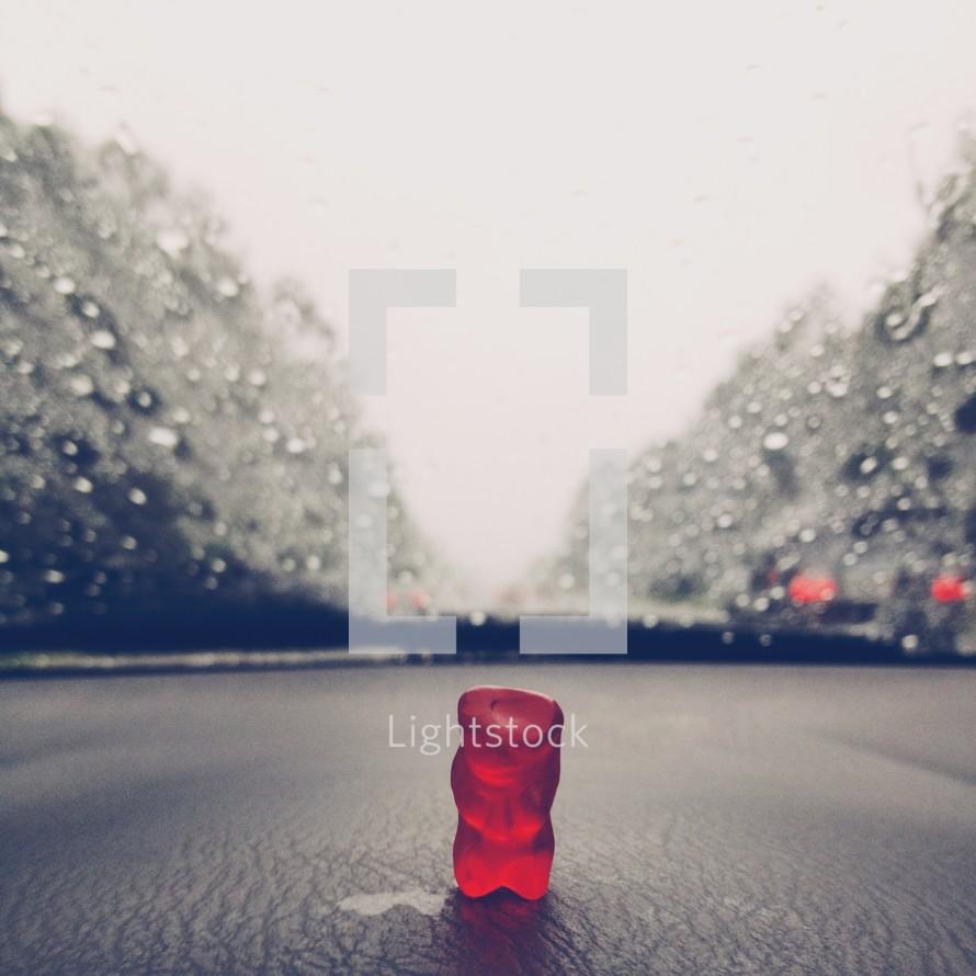 gummy bear on a dashboard