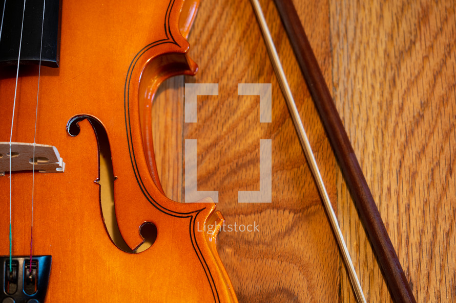 violin on a wood background