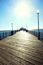 looking down a pier