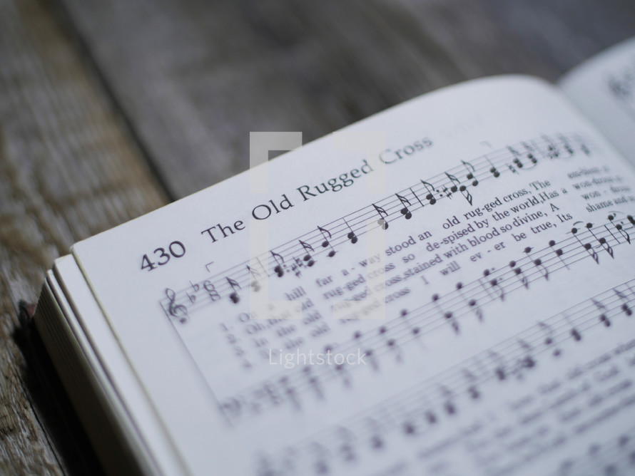 The old rugged cross, sheet music, hymnal, song, worship music