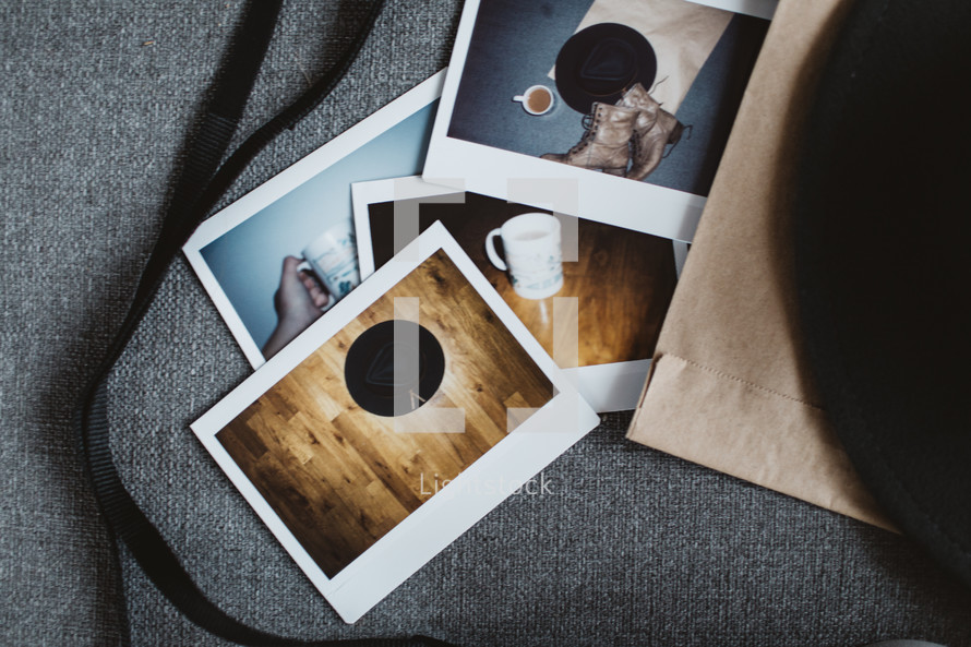 pile of Polaroid photographs