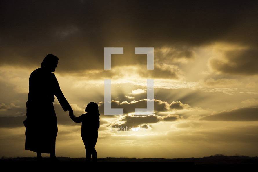 silhouette of Jesus walking holding hands with a little girl