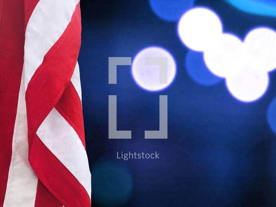 American flag and bokeh light