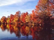 Fall trees along a lake shore.