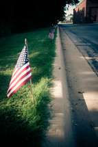 American flags in the ground along a curb