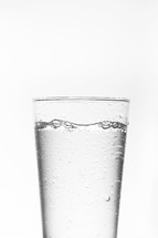 A full glass of water.