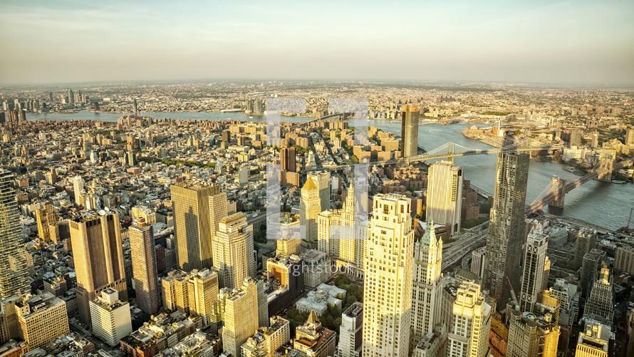 aerial view over Manhattan
