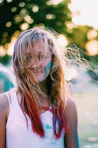 teen girl with color in her hair