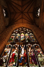Stained glass window in an ancient cathedral.