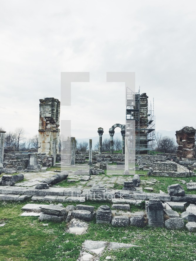 scaffolding on ruins