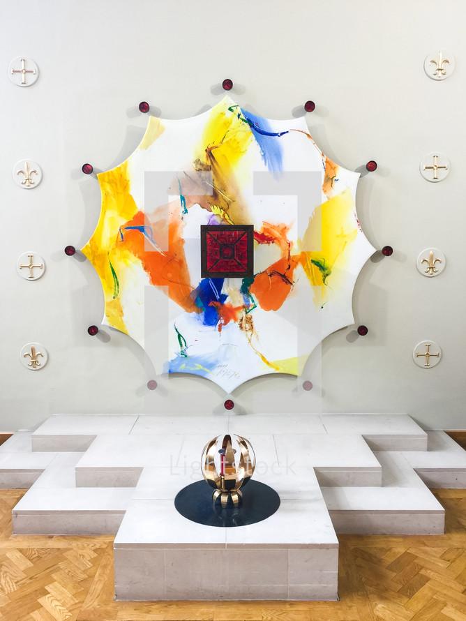 modern art display in a museum