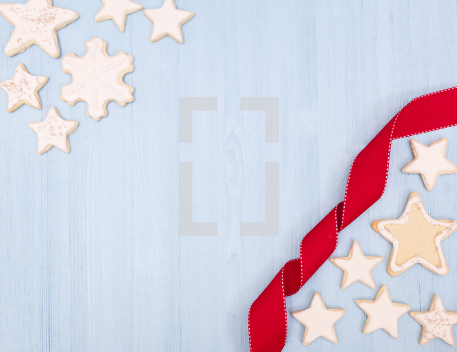 Christmas Cookies Background with Copy Space