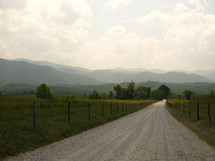 dirt road and rural landscape in the mountains