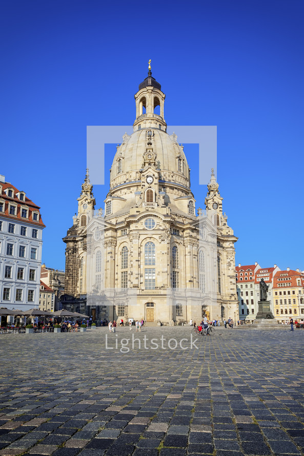 cobblestone streets and The  Frauenkirche Dresden, church of our lady
