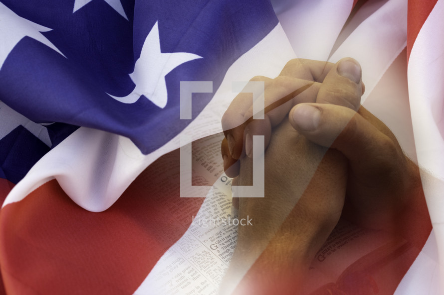 praying hands over a Bible and American flag overlay