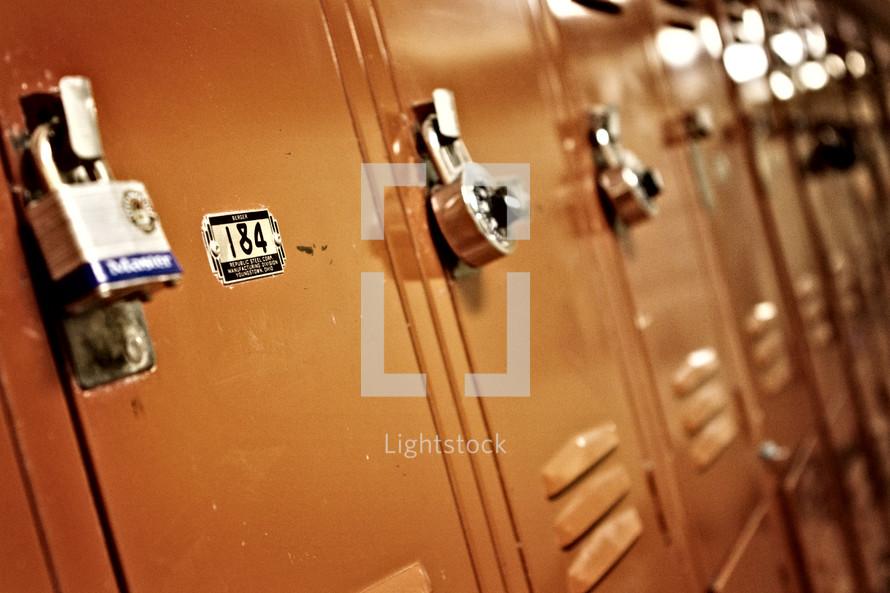 Row of school lockers.