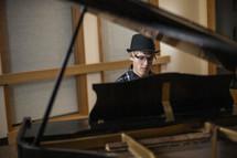 grand piano, piano, young man, playing, music, keys, musician