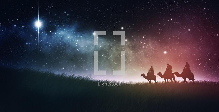 Three wise men traveling at night, Epiphany