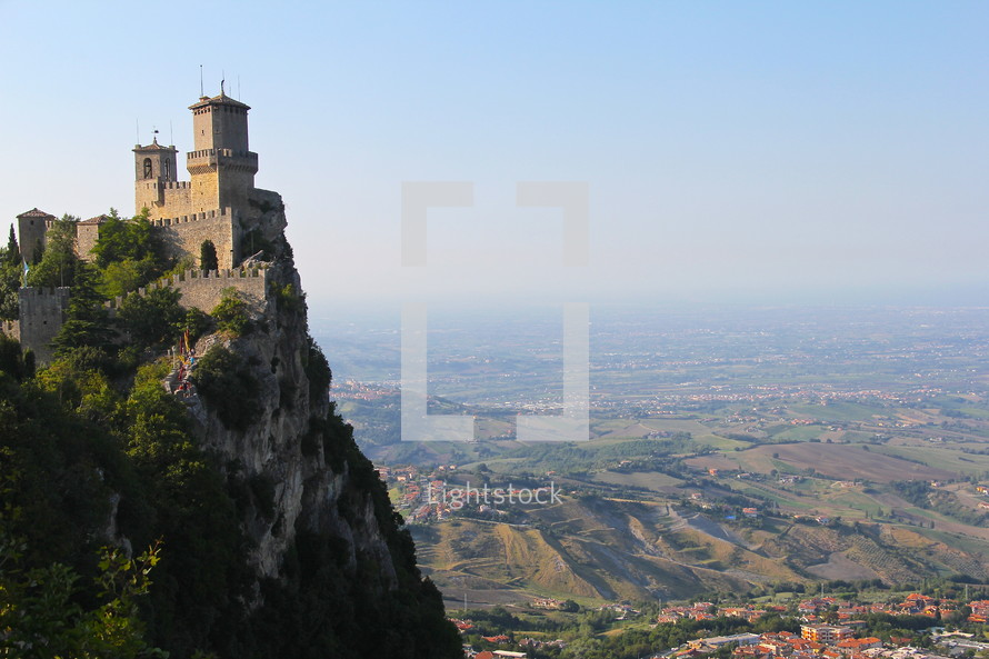 fortress on a mountainside