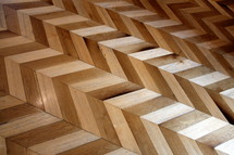 Zig zag patterned antique wooden floor