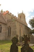 castle like church and graveyard