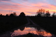 reflection of the sky in a puddle