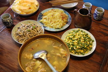 Chinese dinner on wooden table