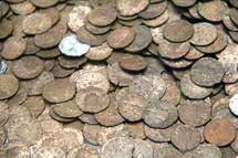 Pieces of sliver, Roman silver coins.