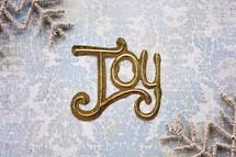 word joy and snowflake border