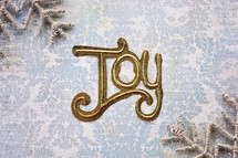 word joy and snowflake border