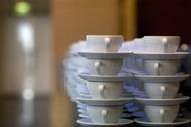 Coffee cups stacked up