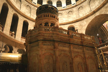 Dome over Jesus Christ empty tomb and rotunda in Jerusalem in the Holy Sepulcher Church
