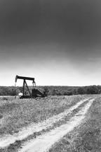 oil rig in a field