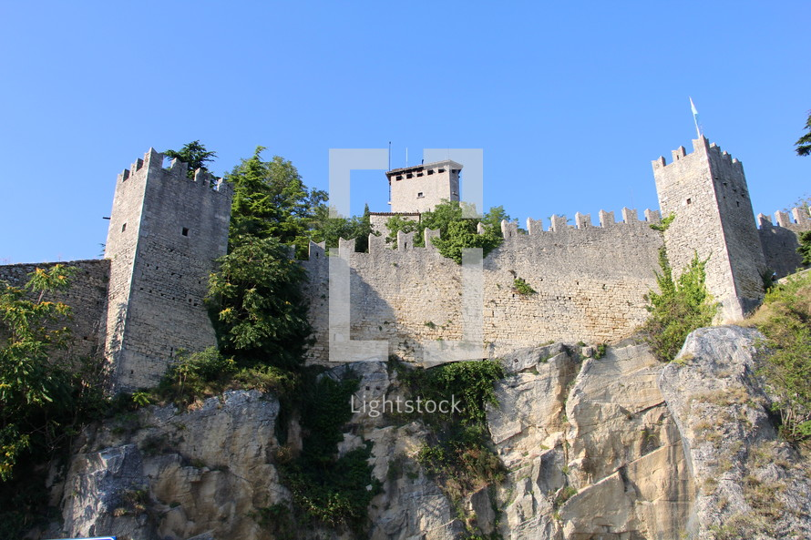 fortress wall on a mountainside