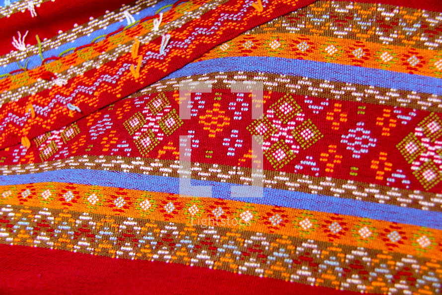 traditional woven fabric made by chin people in Myanmar