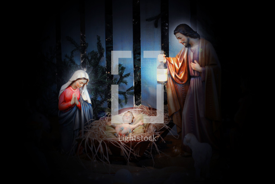 Nativity scene with Mary, Joseph, and Baby Jesus.