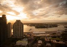 Bay city at dusk.