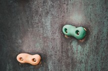 pegs on a climbing wall