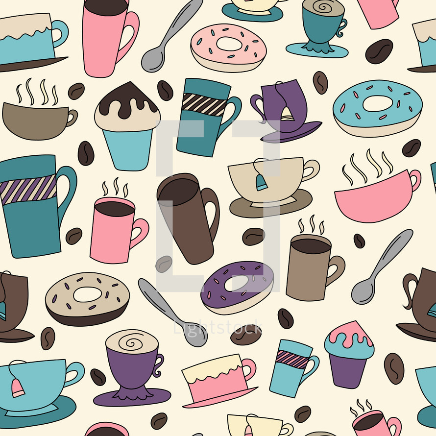 coffee and tea colorful pattern background