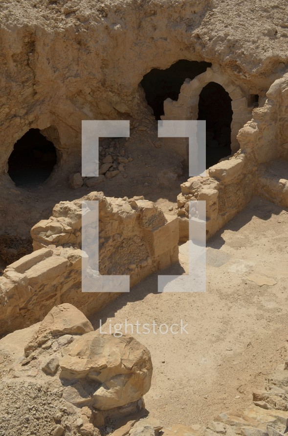 Partially excavated archway at Masada