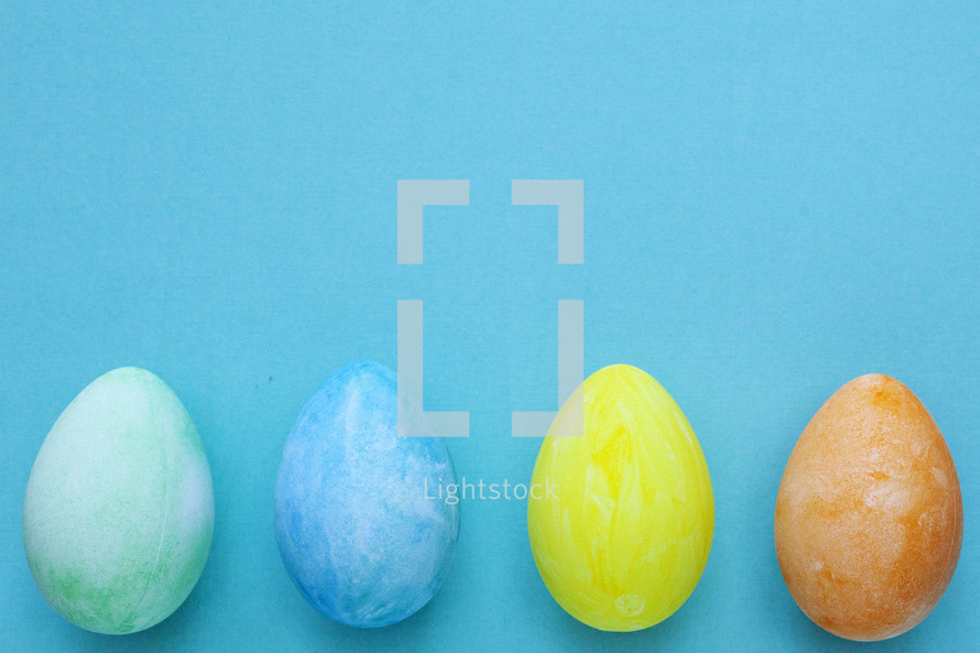 Easter eggs on blue