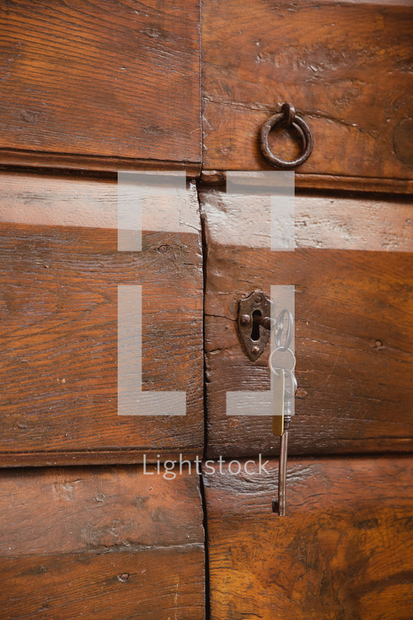 a lock and door pull