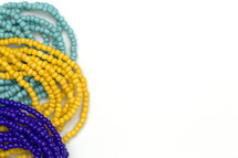 yellow, blue, and turquoise beads