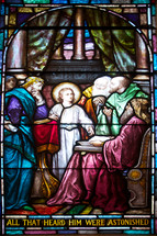 stained glass window teenage Jesus - All that hear him were astonished