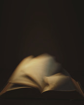 Bokeh image of the Bible with turning pages.