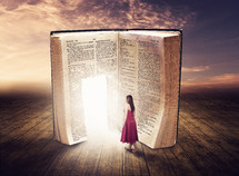 woman walking through a glowing door in a Bible