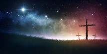 thee crosses under the night sky