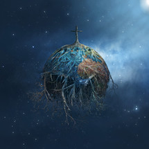 rooted cross on planet in space
