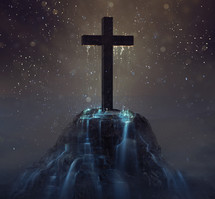 water dripping down a cross